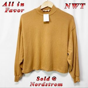 NWT-All in Favor TAN Mock Neck Cozy Top XS